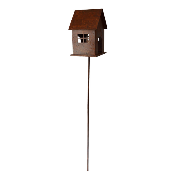 birdfeeder or birdhouse in rusty finish on a stake for the garden