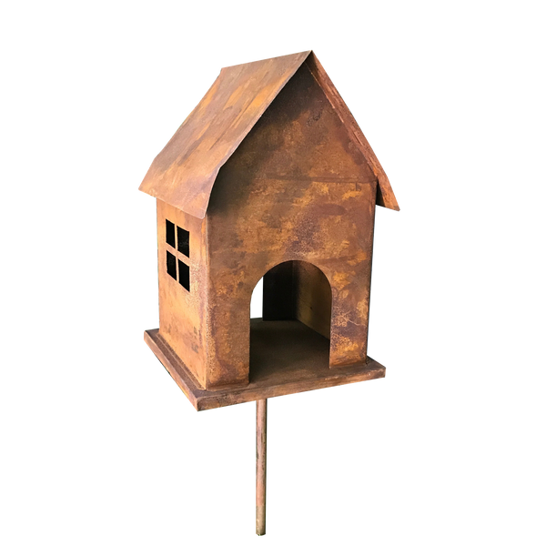 Birdhouse on stake made from rusty metal
