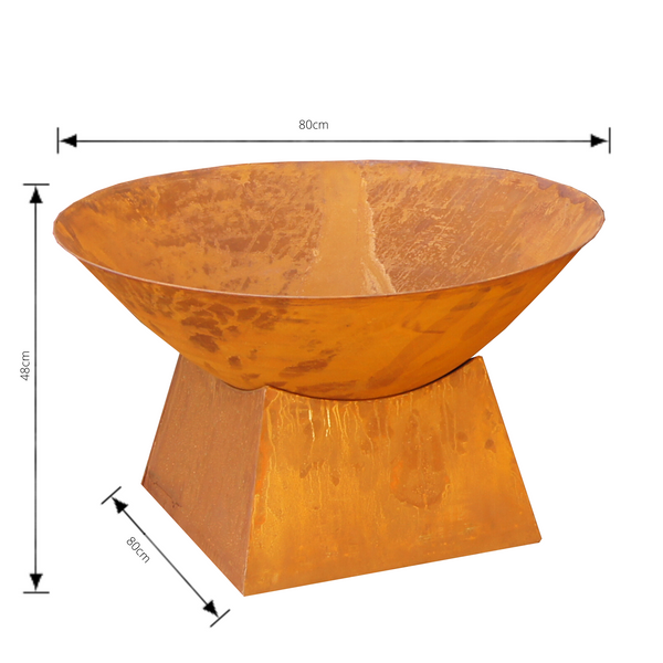 rusty metal fire bowl with plain base with dimensions