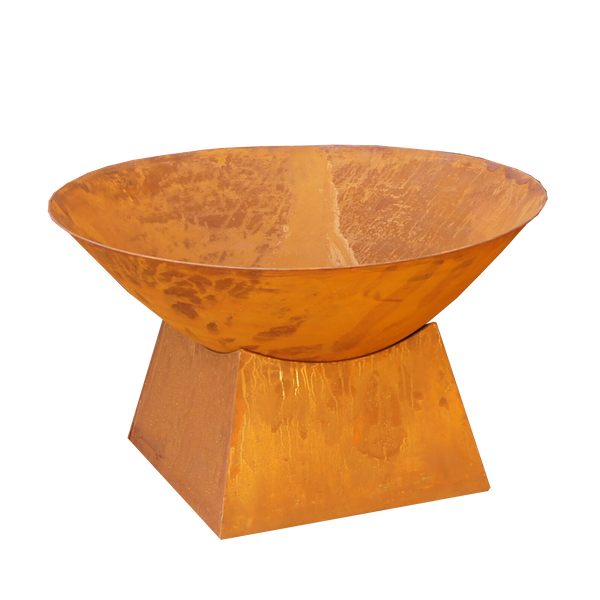 rusty metal fire bowl with plain base