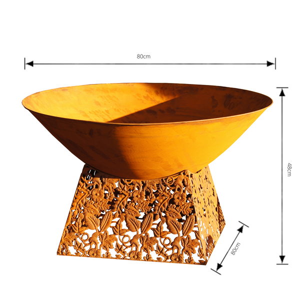 rusty metal fire bowl with laser cut base with dimensions