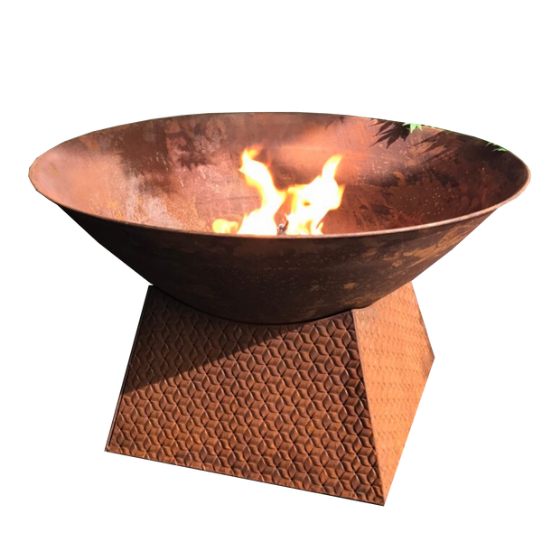 rusty metal fire bowl with weave base