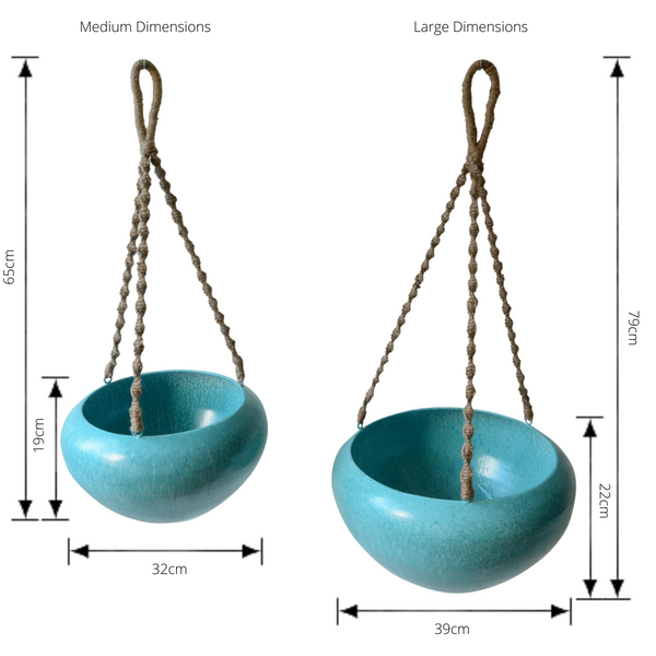 Set of 2 Indoor/Outdoor Metal Hanging Pot Planter with Rope - Aqua with dimensions