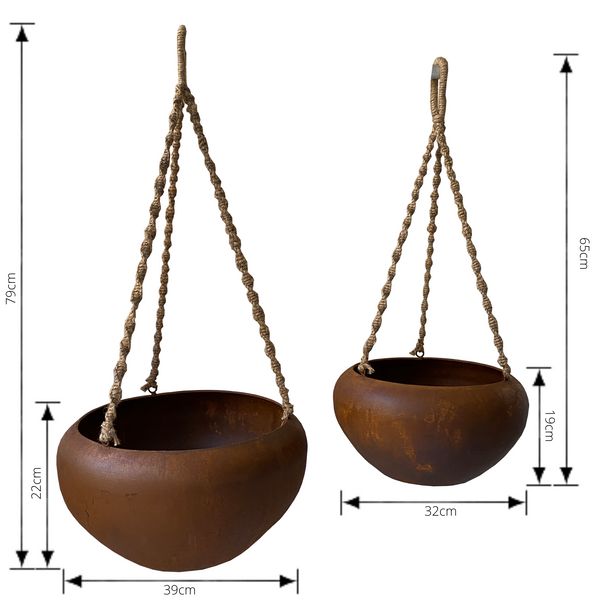 Set of 2 Indoor/Outdoor Metal Hanging Pot Planter with Rope - Rustic