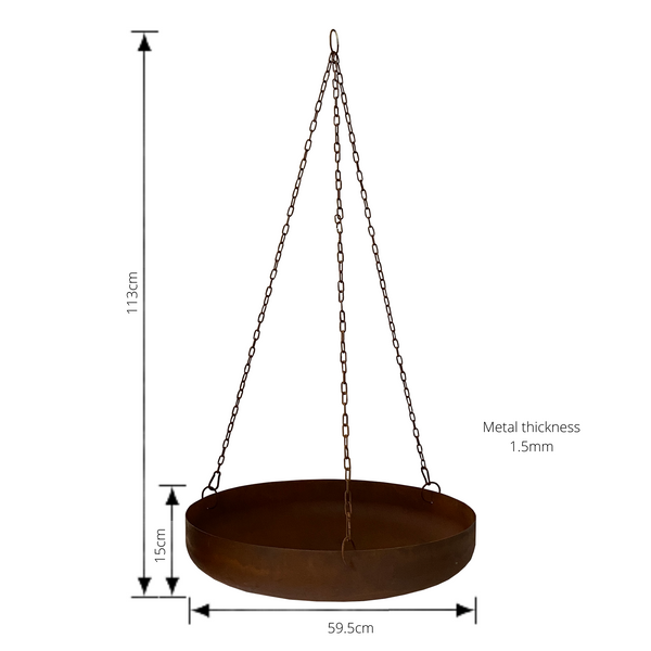 Hanging Planter Bowl Rustic 59.5x59.5x15-113cm 1.5mm thickness