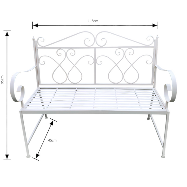 Outdoor garden bench Zara, made from metal, in cream colour, pictured with dimensions