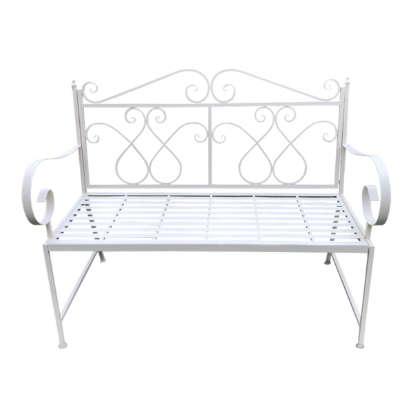 Outdoor garden bench Zara, made from metal, in cream colour,