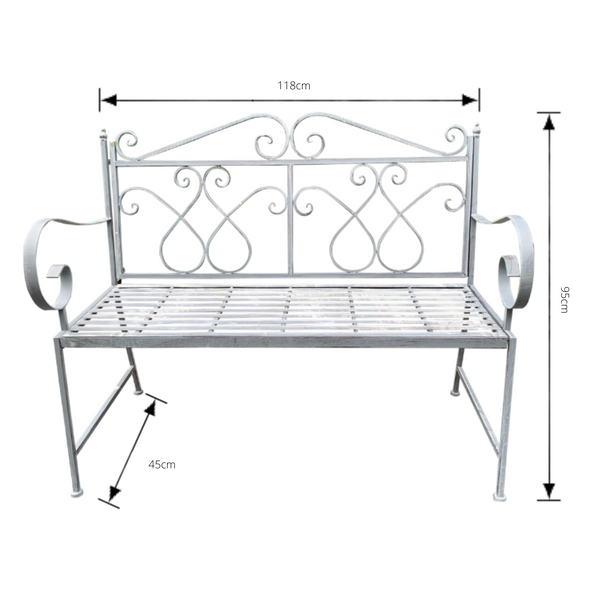 Outdoor garden bench Zara, made from metal, in grey with white wash colour, pictured with dimensions