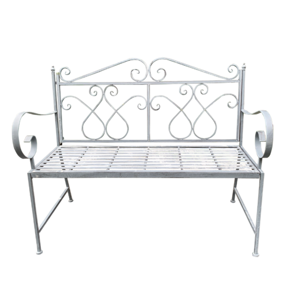 Outdoor garden bench Zara, made from metal, in grey with white wash colour,