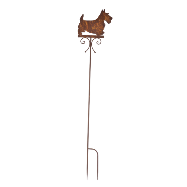 Laser Cut Metal Garden Stake, Scottie Dog - Rusty
