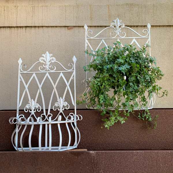 Set 2 Wall Planters Metal Antique Cream