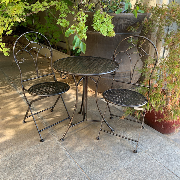 Patio Setting - Gatsby Bronzed Black 3 Piece Metal Garden Setting in the garden
