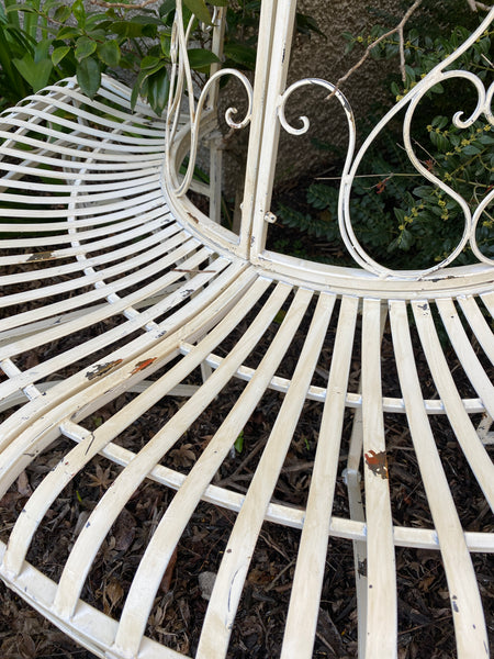 Half Tree Surround with Bench Seat, Distressed Antique White, Heavy Gauge Iron