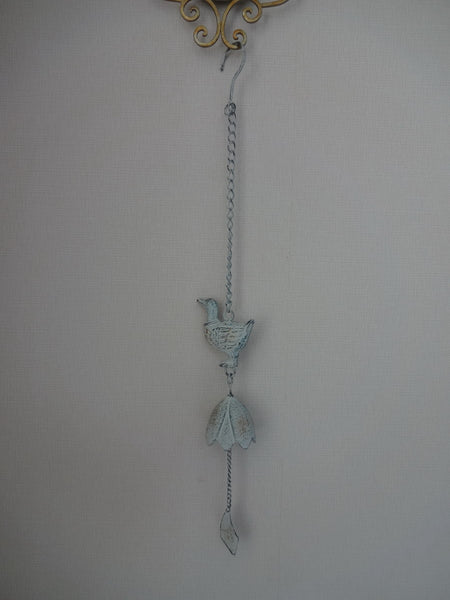 Bell Hanging Cast Duck Verdi Metal Wind Garden Outdoor Decor 8X7X70cm