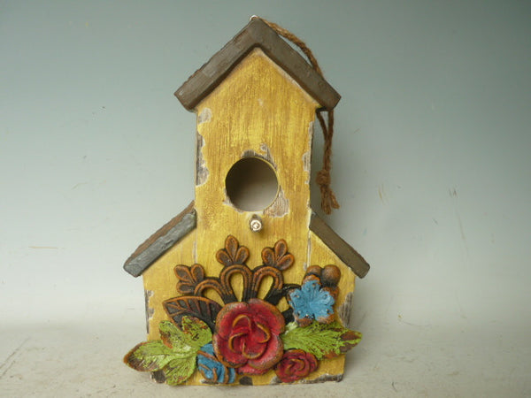 Bird House Hanging Resin Barn Yellow Decorative Outdoor Garden Decor   19X13X19CM