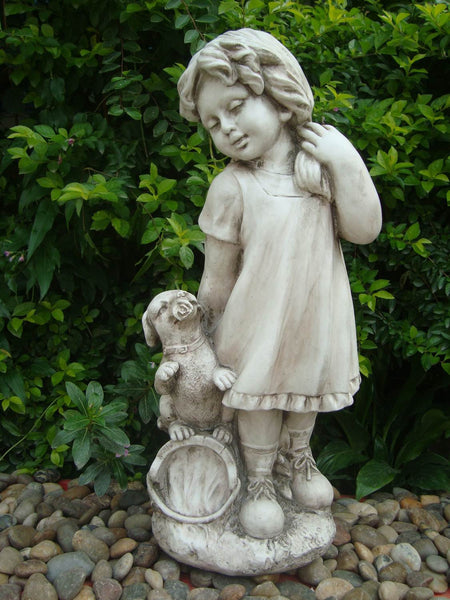 Statue Country Girl Sculpture Figurine Ornament Feature Garden Decor 26X21X61cm