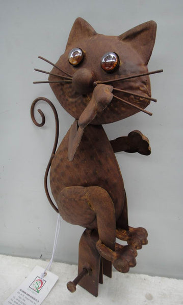 Balcony Cat Rusty Metal Art Sculpture Figurine Garden Decor Outdoor 20X11X39cm