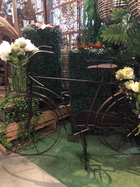 Bicycle Planter Baskets Metal Flower Herb Pot Holder Plant Stand Garden Decor Rust  145X51X90cm High