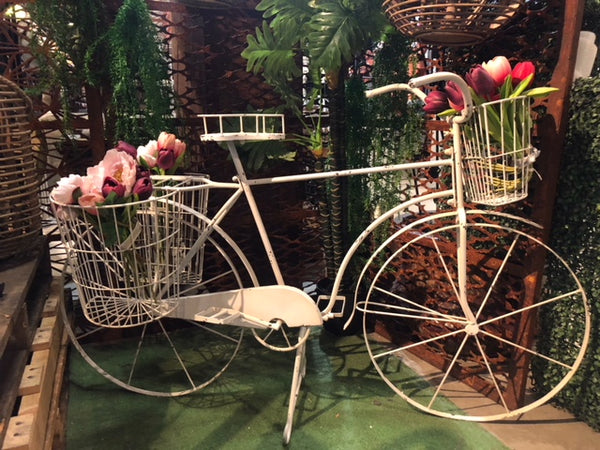 Bicycle Planter Baskets Metal Flower Herb Pot Holder Plant Stand Garden Decor Cream  145X51X90cm High