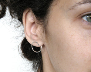 Silver hoop curl earrings