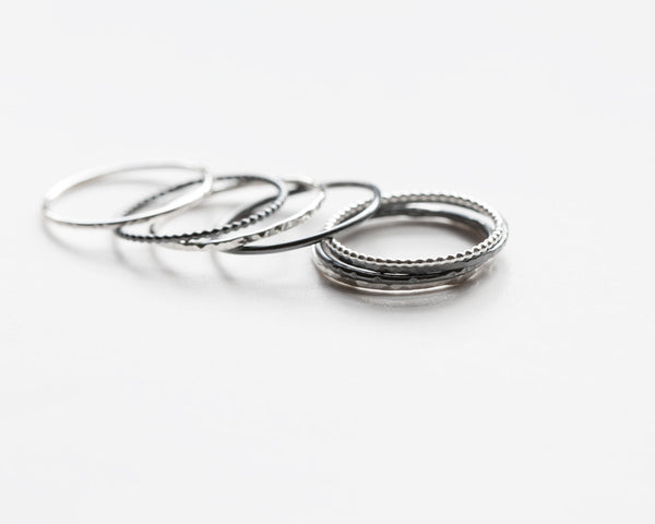 Textured stacking rings.