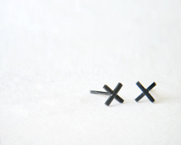X studs, minimalist stud earrings.