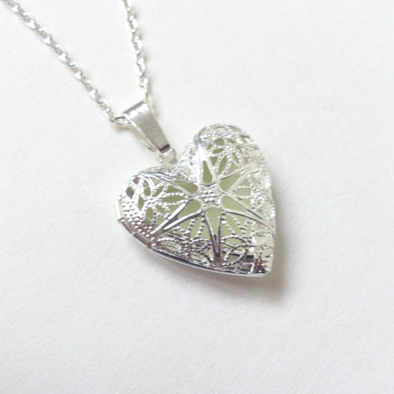 Glowing locket heart necklace wife gift easter gift glow in th glowing locket heart necklace wife gift easter gift glow in the dark pendant glowing charm bridesmaid necklace gifts for her negle Images