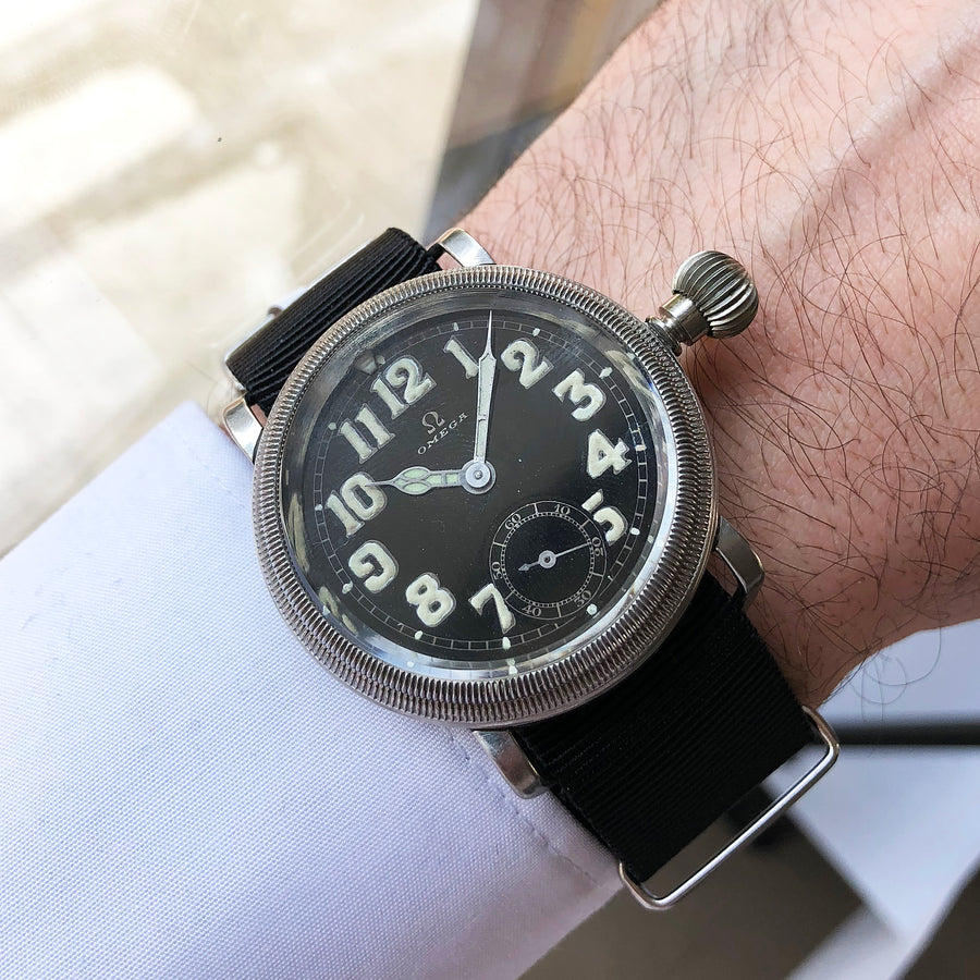 1934 Omega CK700 AD Pilot's Watch / Enamel Dial