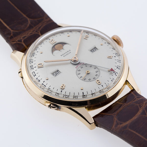 1950 Record Geneve Datofix 18k Rose Gold