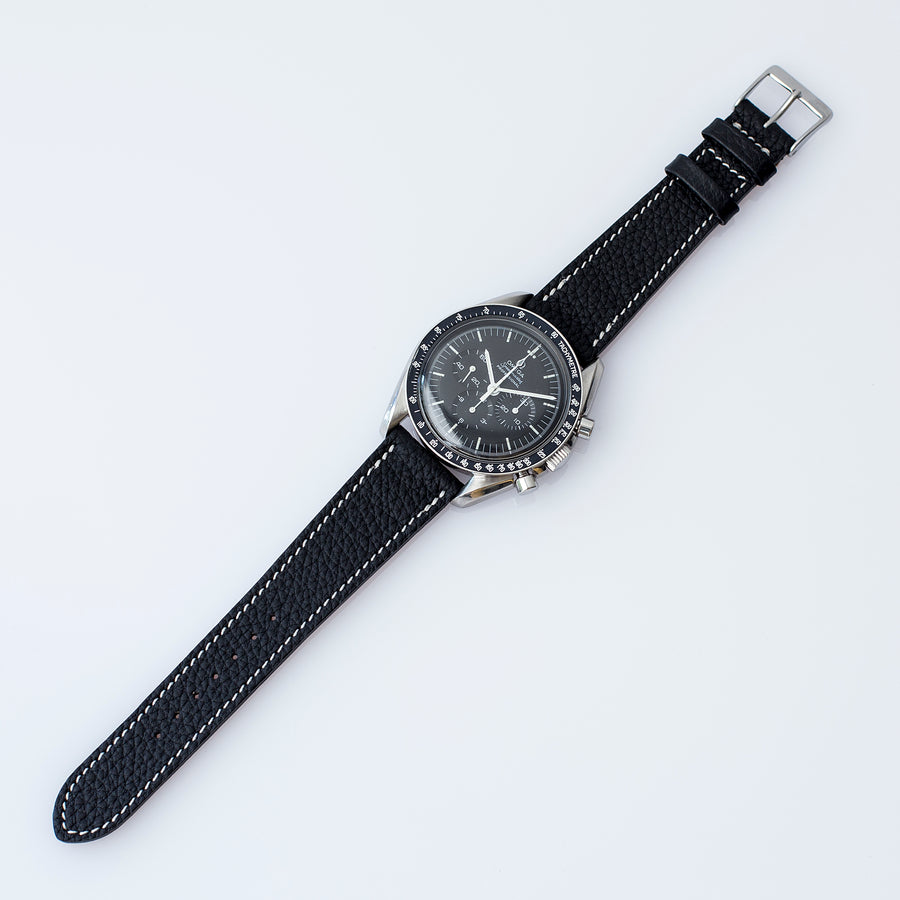 Textured Soot Black Calfskin Watch Strap