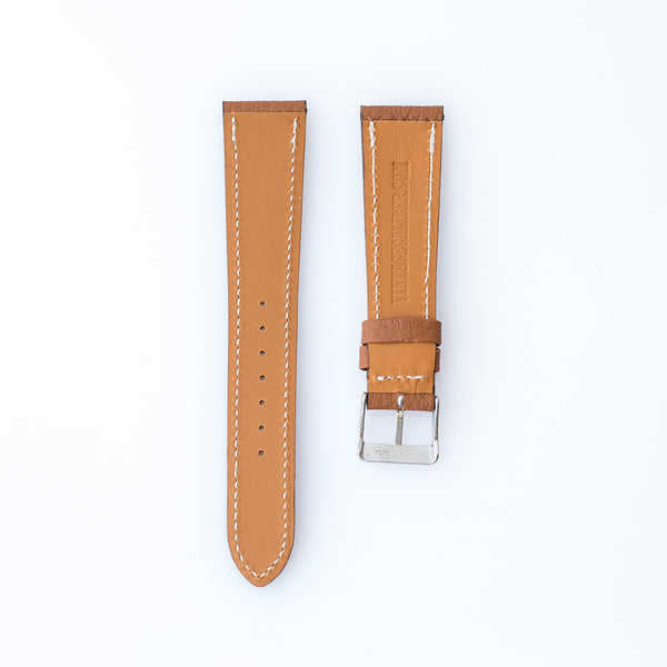 Textured Caramel Brown Calfskin Watch Strap