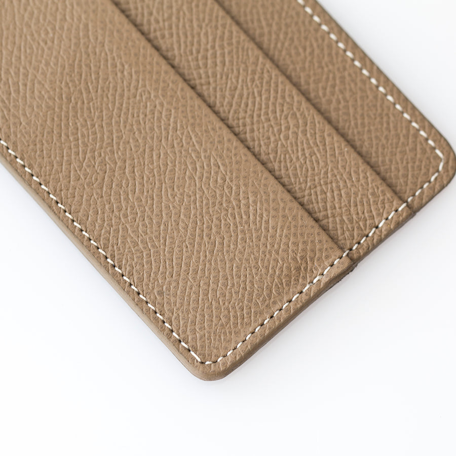 Taupe Textured Calfskin Cardholder