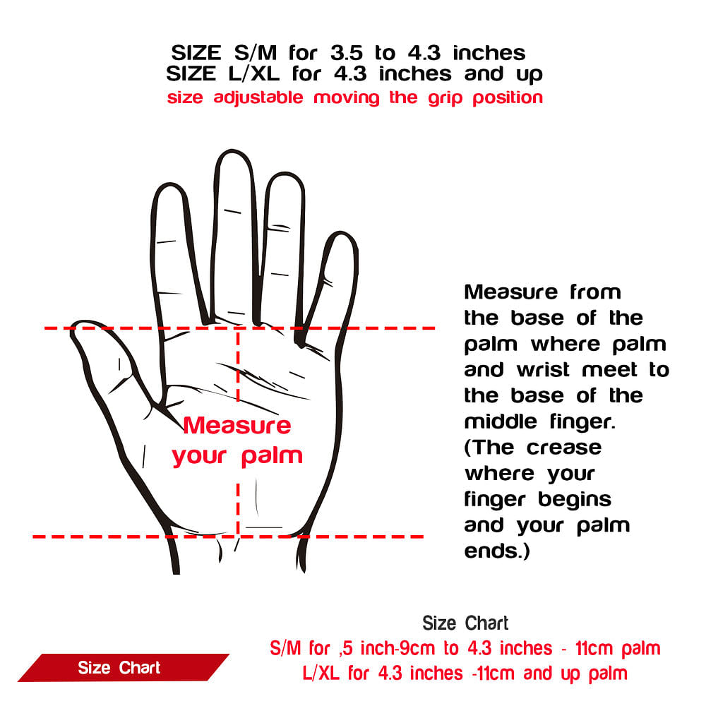 size chart palm protectors