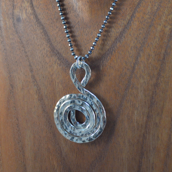 "Hammered Silver ""S"" Necklace"