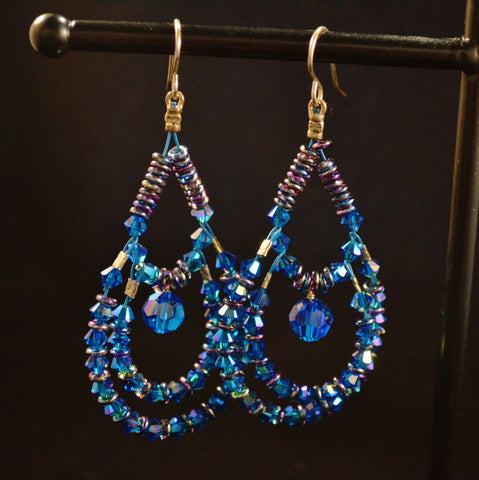 Blue Swarovski Chandelier Earrings
