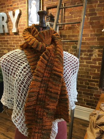 Wool Scarf-Orange/Green