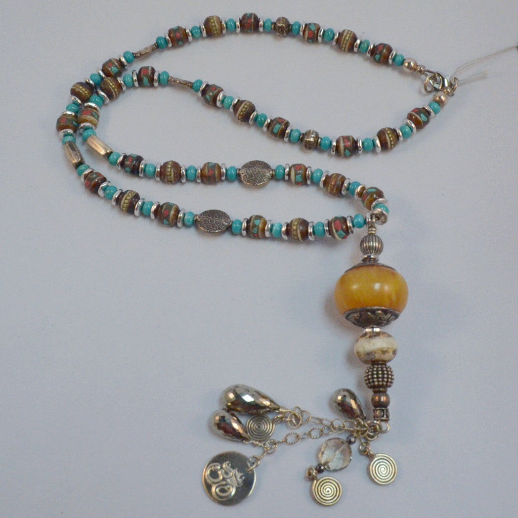 Turquoise Silver Amber Necklace