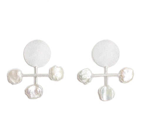 Round Cross Earrings With Pearls - Medium