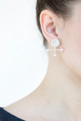 Round Cross Earrings With Pearls - Small