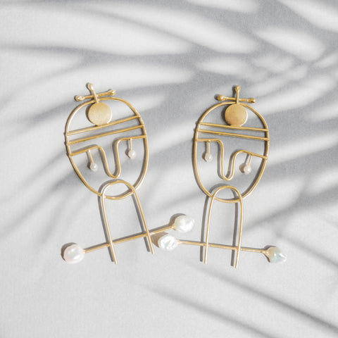 Portraiture Gold Earrings