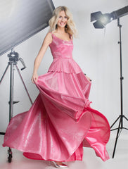 Layla Shimmer Gown with Pleated Peplum