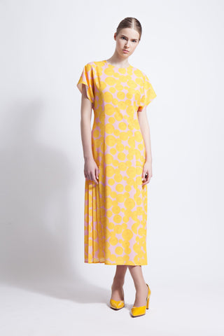 Elodie Midi Dress with Knife Pleats