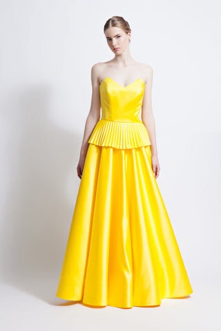 Belle Strapless Ballgown with Pleated Peplum
