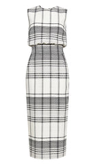 Harper Column Plaid Midi Dress