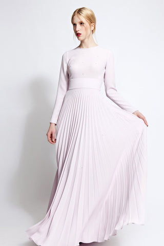 Lara Pleated Crepe Gown