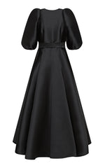 Lotta Silk Blend Button-up Maxi Dress with Puff Sleeves