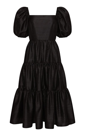 Juulika Silk Dress with Puff Sleeves