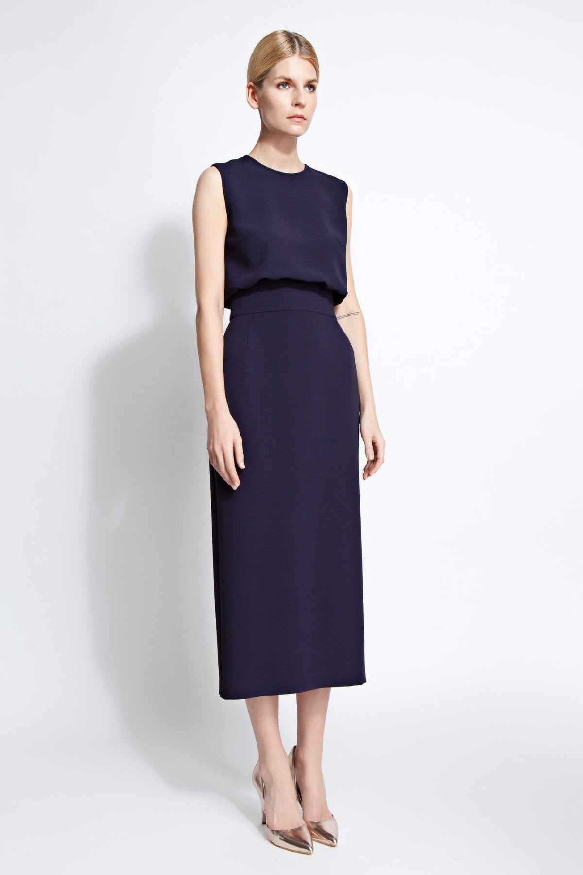 Harper Column Midi Dress Navy