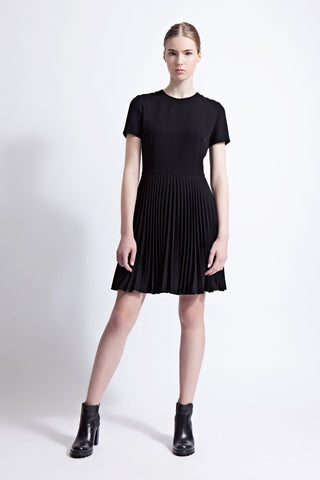Lola Pleated Mini Dress with Short Sleeves