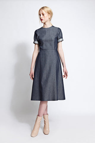 Alexa Silk Blend Denim Dress